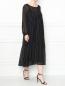 Платье-миди свободного кроя с узором полоска Marina Rinaldi  –  МодельОбщийВид