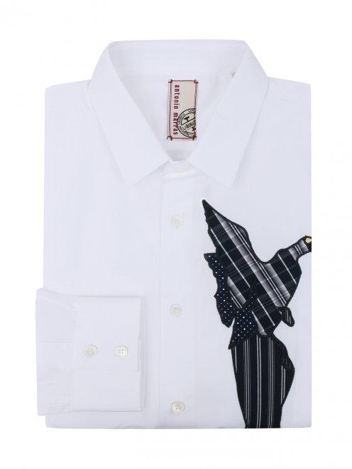 Рубашка из хлопка с узором на груди - Общий вид