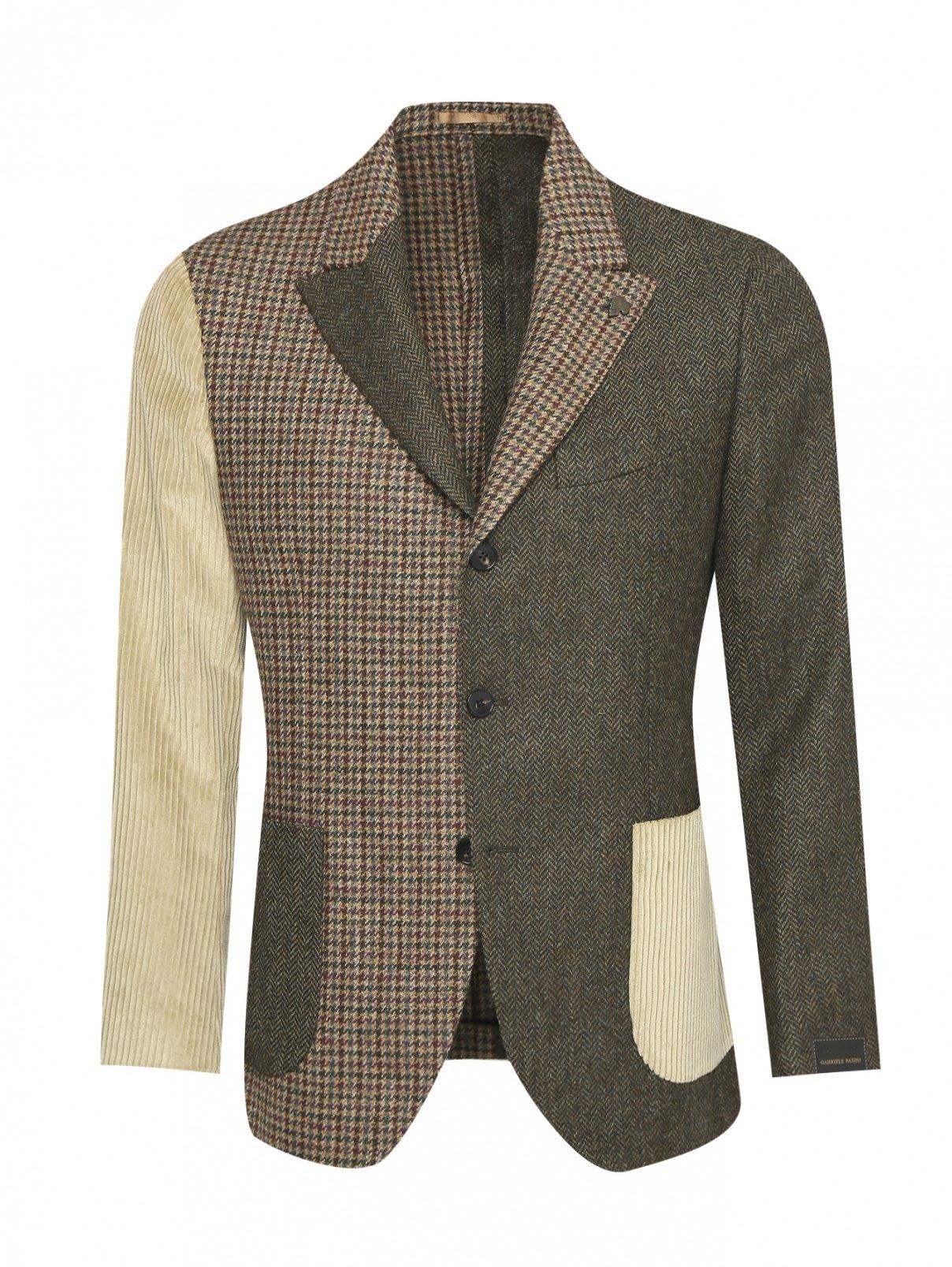 Пиджак однобортный из шерсти с узором Gabriele Pasini  –  Общий вид