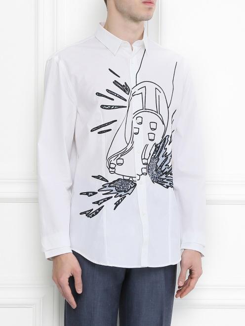 Рубашка из хлопка с узором - Модель Верх-Низ