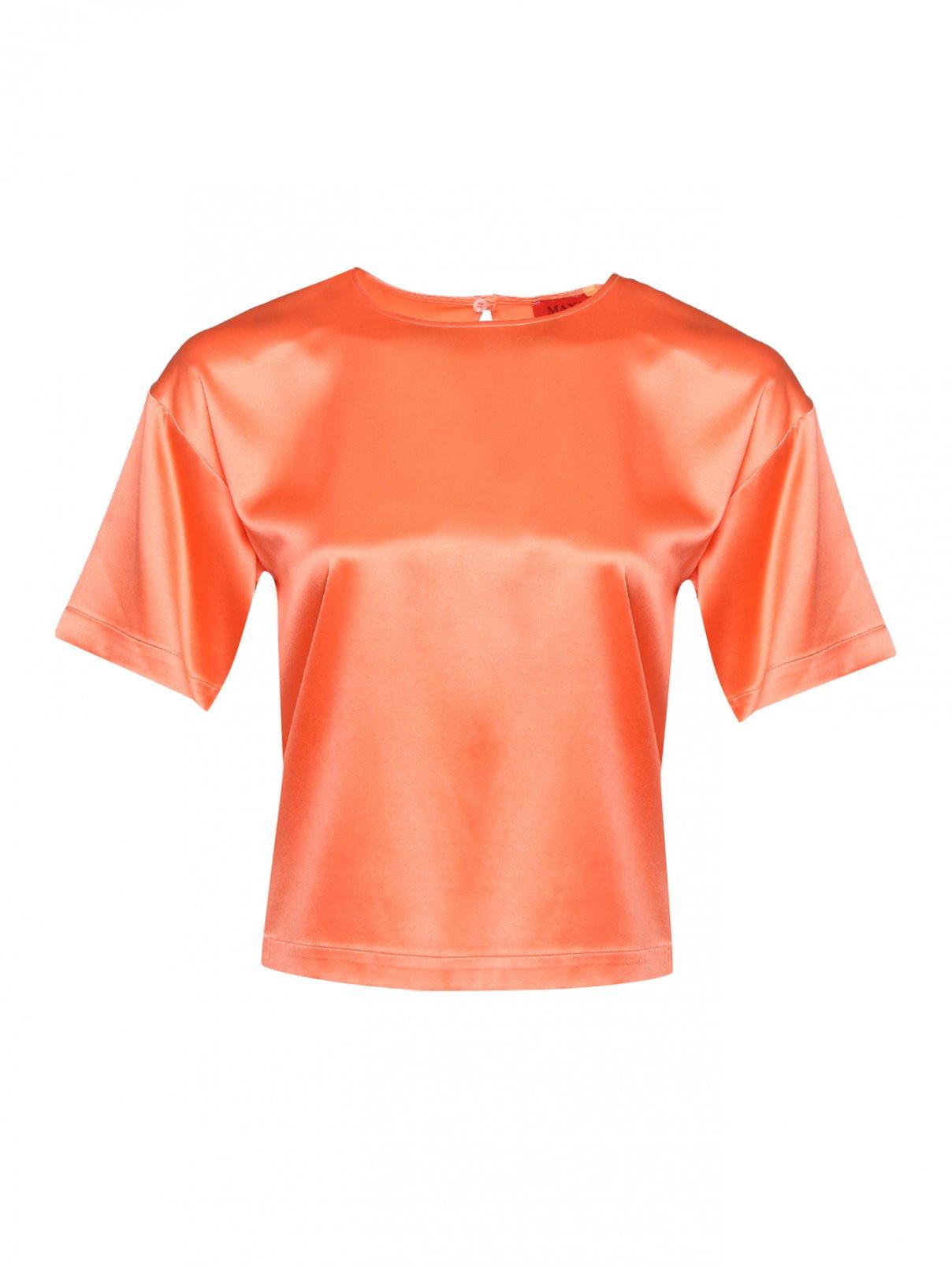 Блуза шелковая прямого кроя с коротким рукавом Max&Co  –  Общий вид
