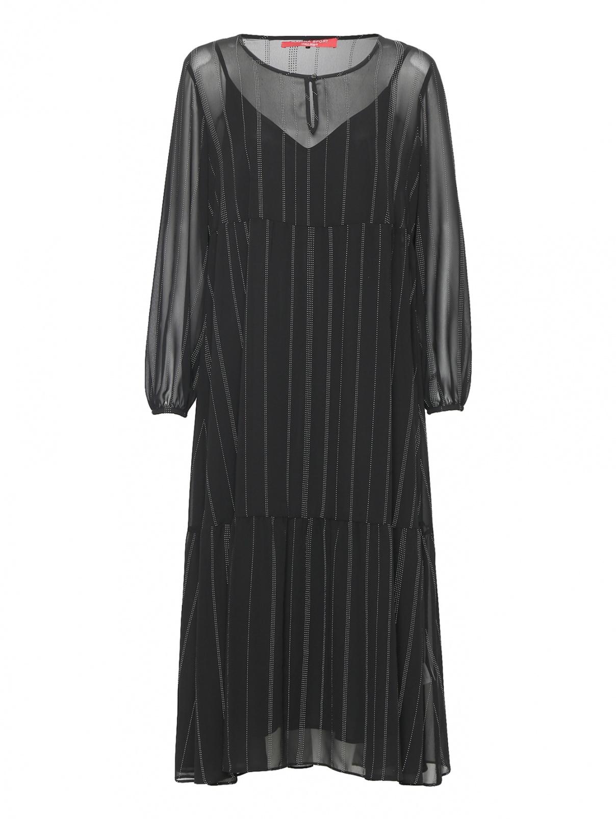 Платье-миди свободного кроя с узором полоска Marina Rinaldi  –  Общий вид