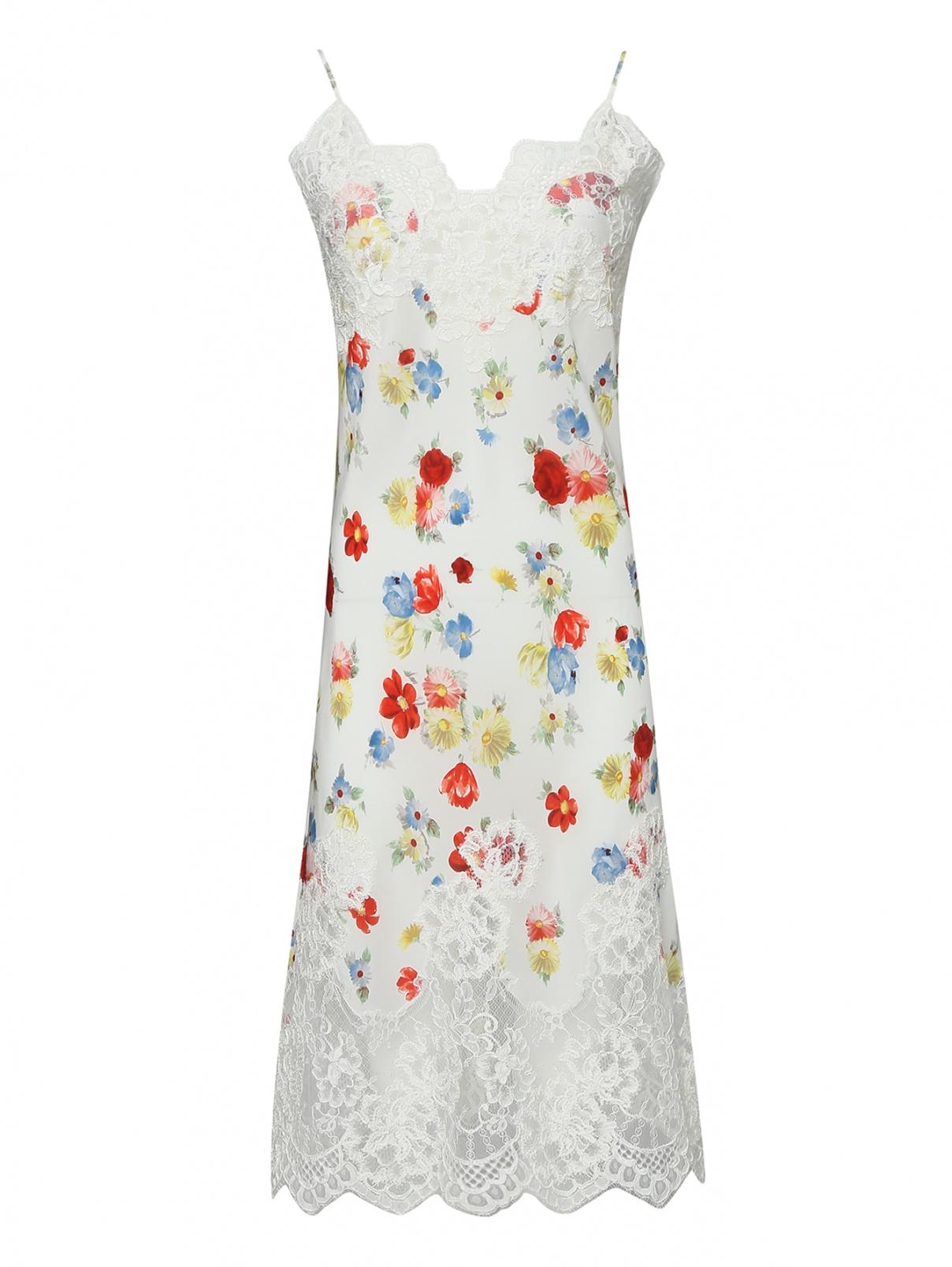 Платье-комбинация из шелка с цветочным узором Ermanno Scervino  –  Общий вид