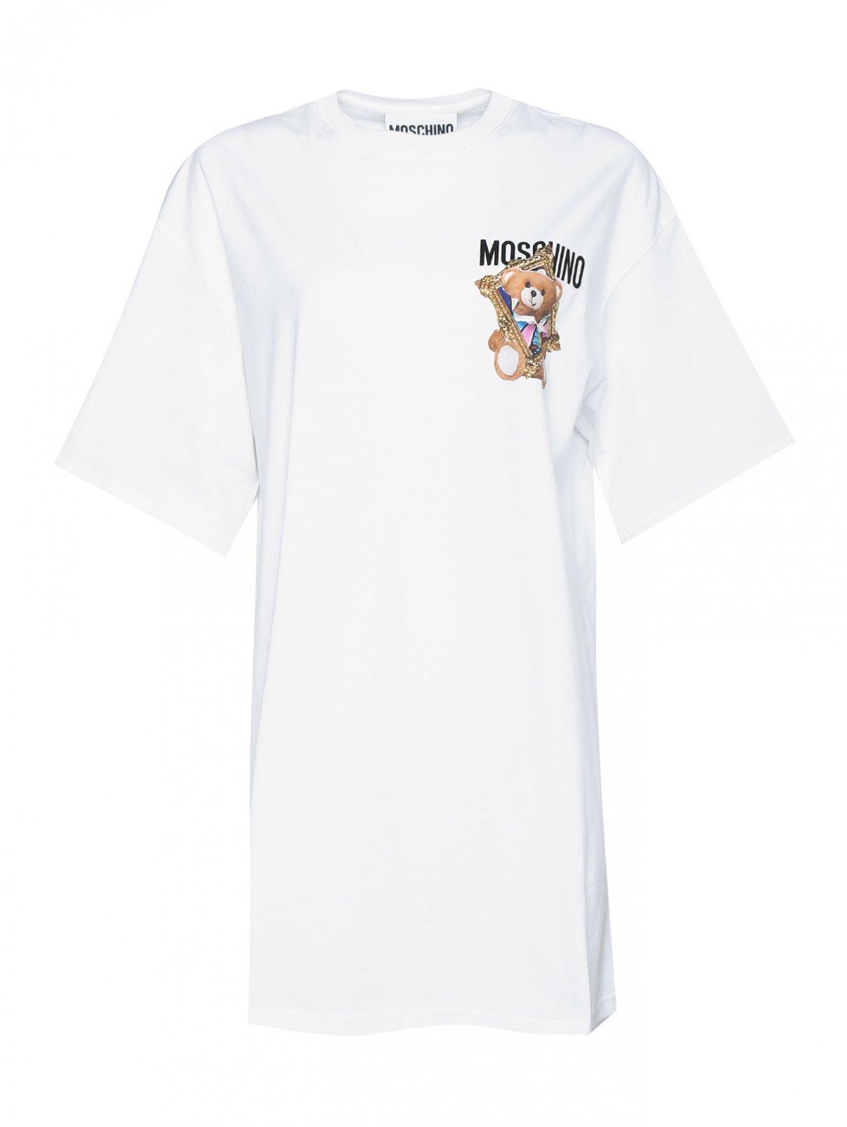 Платье-футболка свободного кроя из хлопка Moschino  –  Общий вид