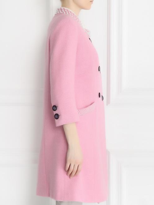 Пальто из шерсти с аппликаций из бусин - Модель Верх-Низ2