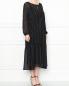 Платье-миди свободного кроя с узором полоска Marina Rinaldi  –  МодельВерхНиз