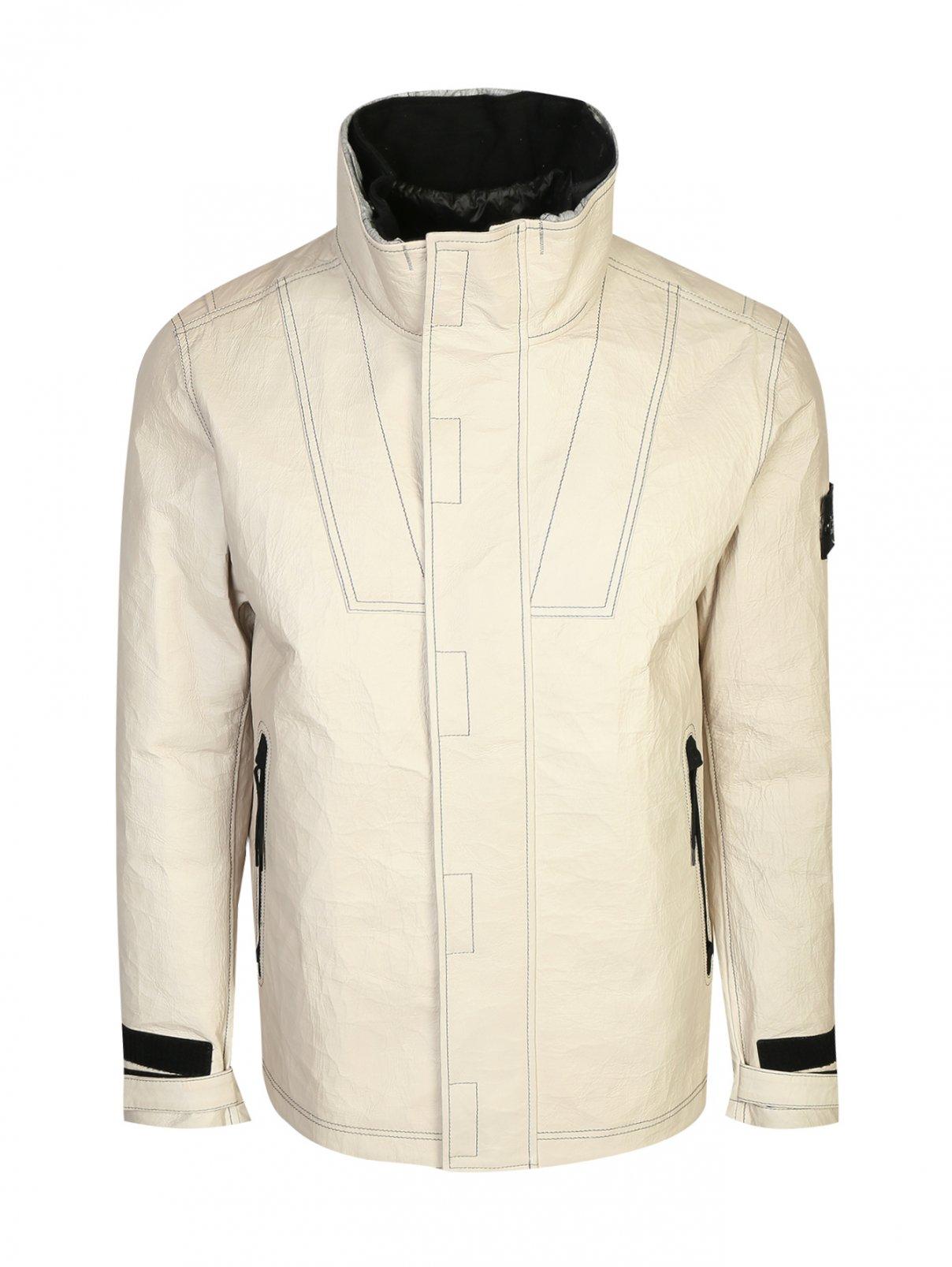 Куртка из кожи с пуховым подкладом Stone Island  –  Общий вид