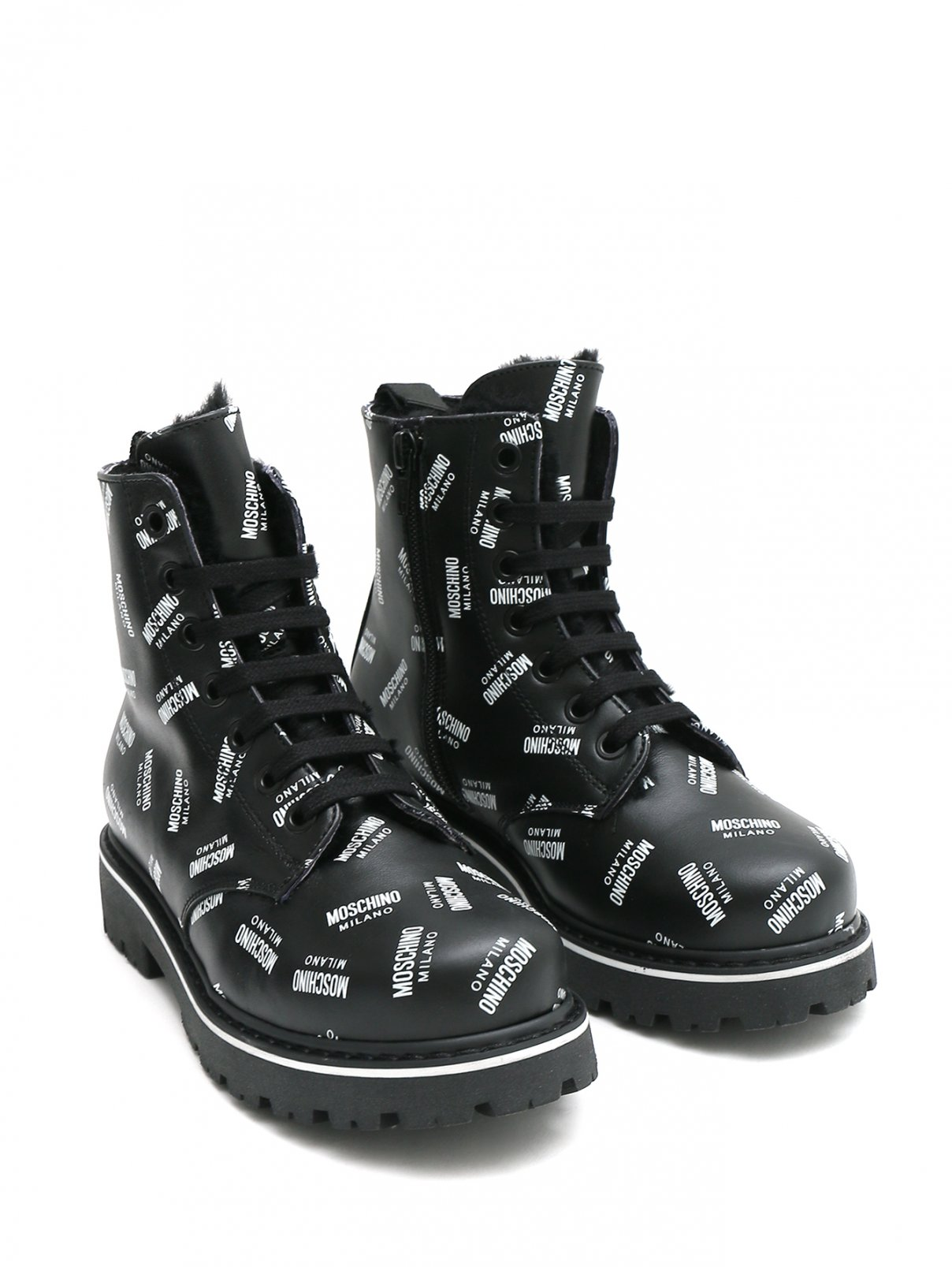 Ботинки утепленные из принтованной кожи Moschino  –  Общий вид