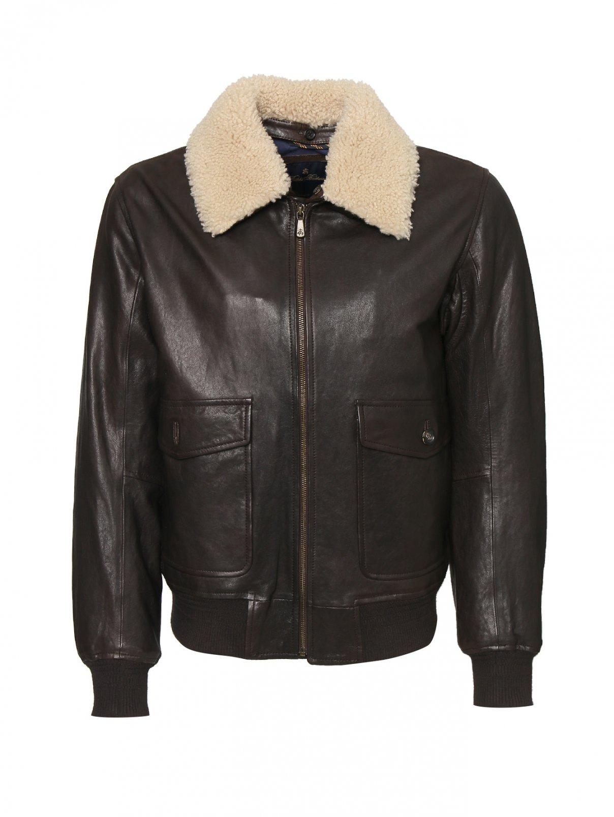 Куртка кожаная с меховой отделкой по воротнику Brooks Brothers  –  Общий вид