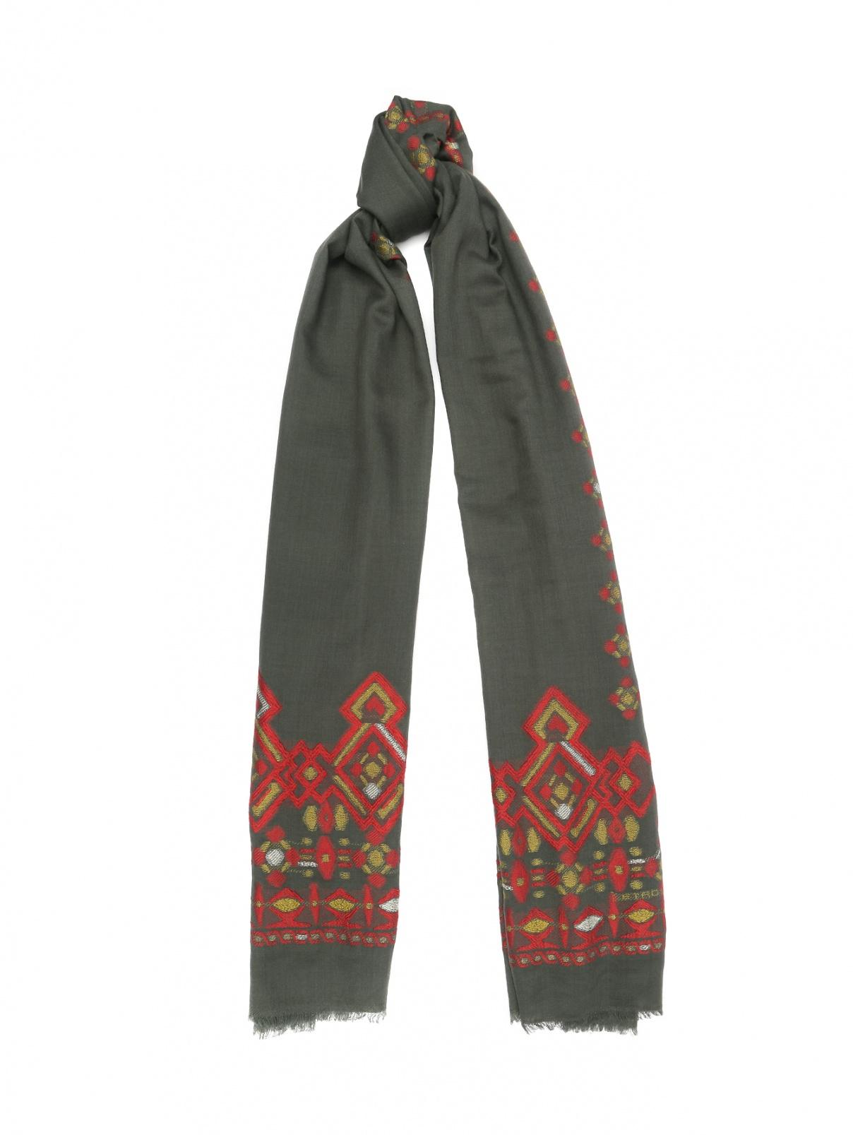 Шарф из шерсти и шелка с декоративной вышивкой Etro  –  Общий вид