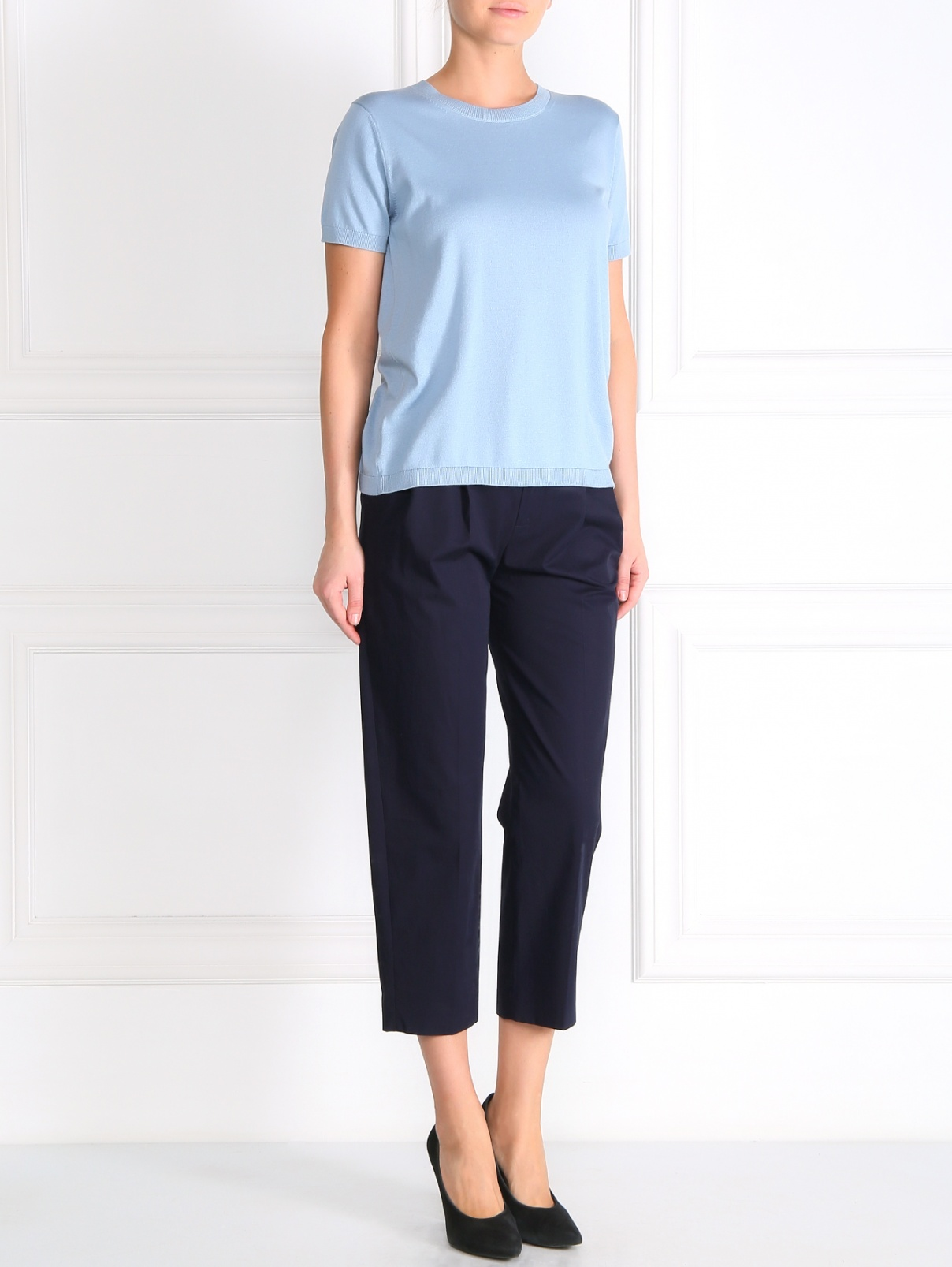 Укороченные свободные брюки из хлопка Paul Smith  –  Модель Общий вид