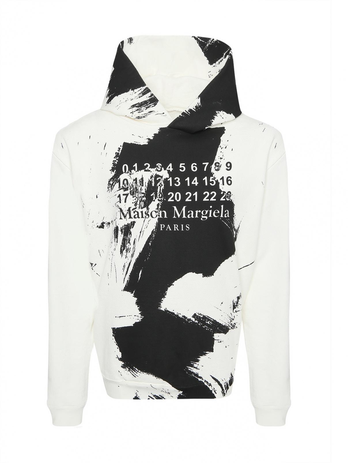 Толстовка из хлопка с контрастным принтом Maison Martin Margiela  –  Общий вид