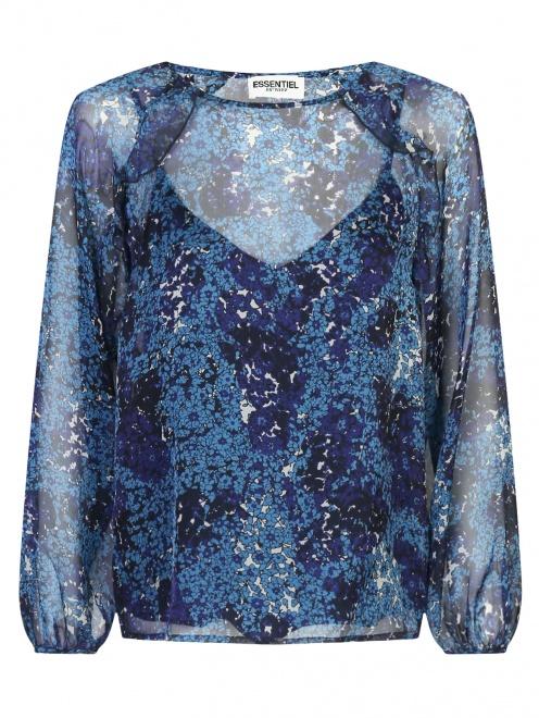 Блуза из шелка с цветочным узором Essentiel Antwerp - Общий вид
