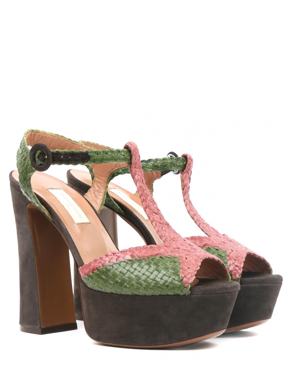 Босоножки из кожи и замши на устойчивом каблуке L'Autre Chose  –  Общий вид