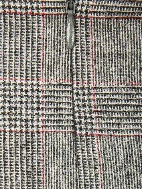 Юбка-мини из смешанной шерсти с узором и контрастной отделкой - Деталь1