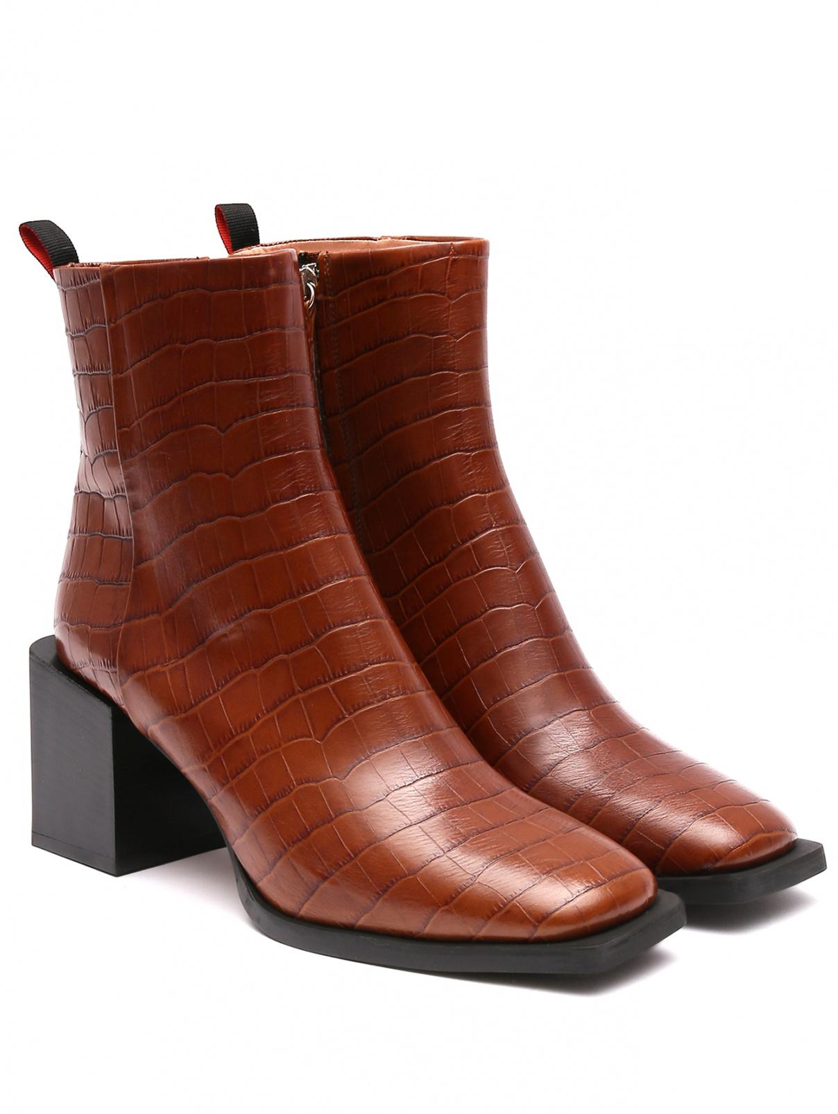 Ботильоны из фактурной кожи на устойчивом каблуке Max&Co  –  Общий вид
