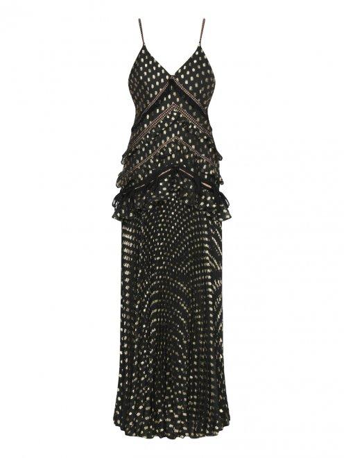 Платье-макси без рукавов с плиссированной юбкой - Общий вид