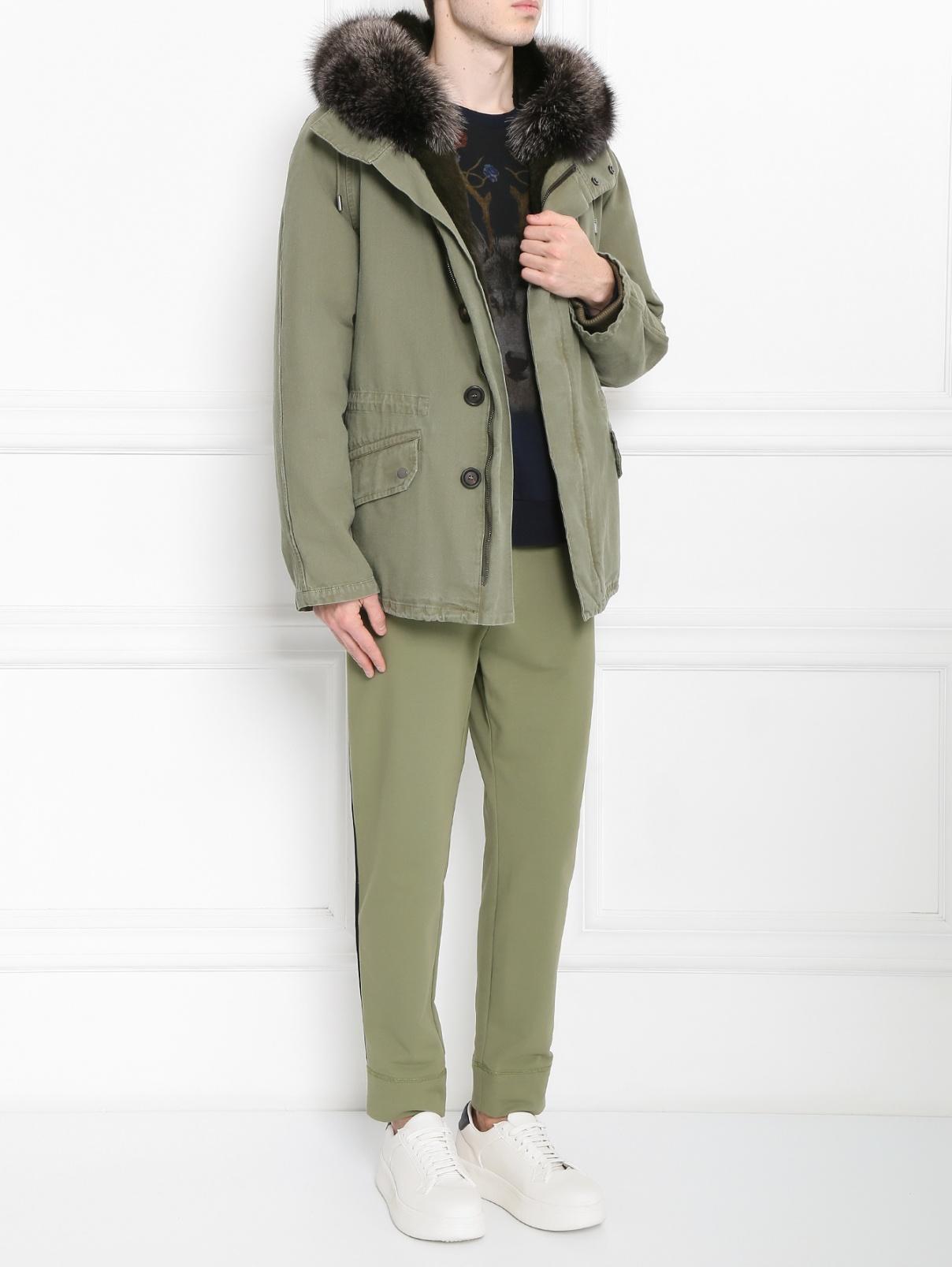 Куртка из хлопка с меховой подкладкой Yves Salomon  –  Модель Общий вид