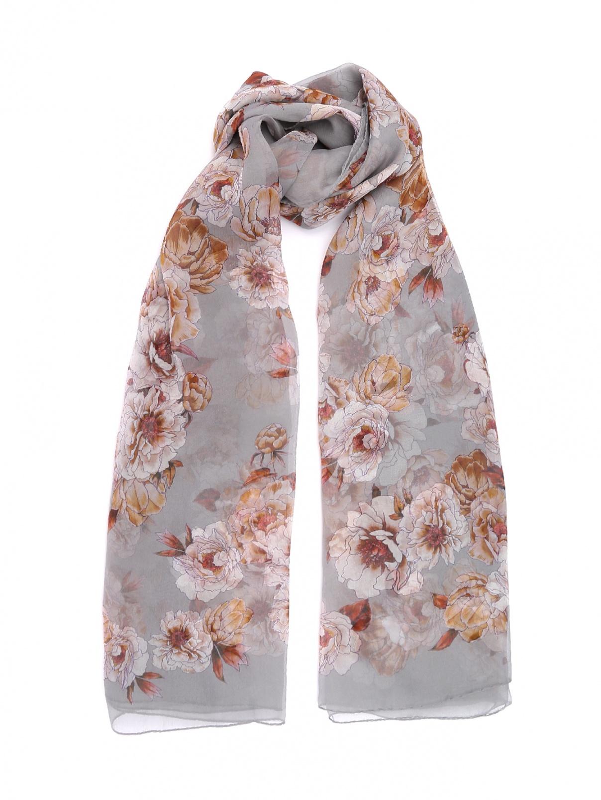 Шарф из шелка с цветочным узором Max Mara  –  Общий вид