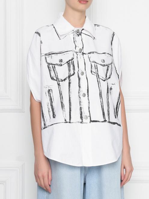 Блуза из хлопка с узором MM6 - МодельВерхНиз