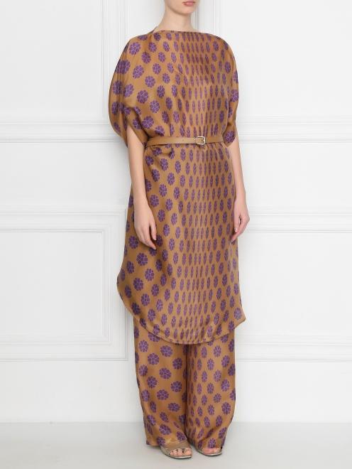 Платье из шелка свободного кроя с узором MM6 - МодельВерхНиз