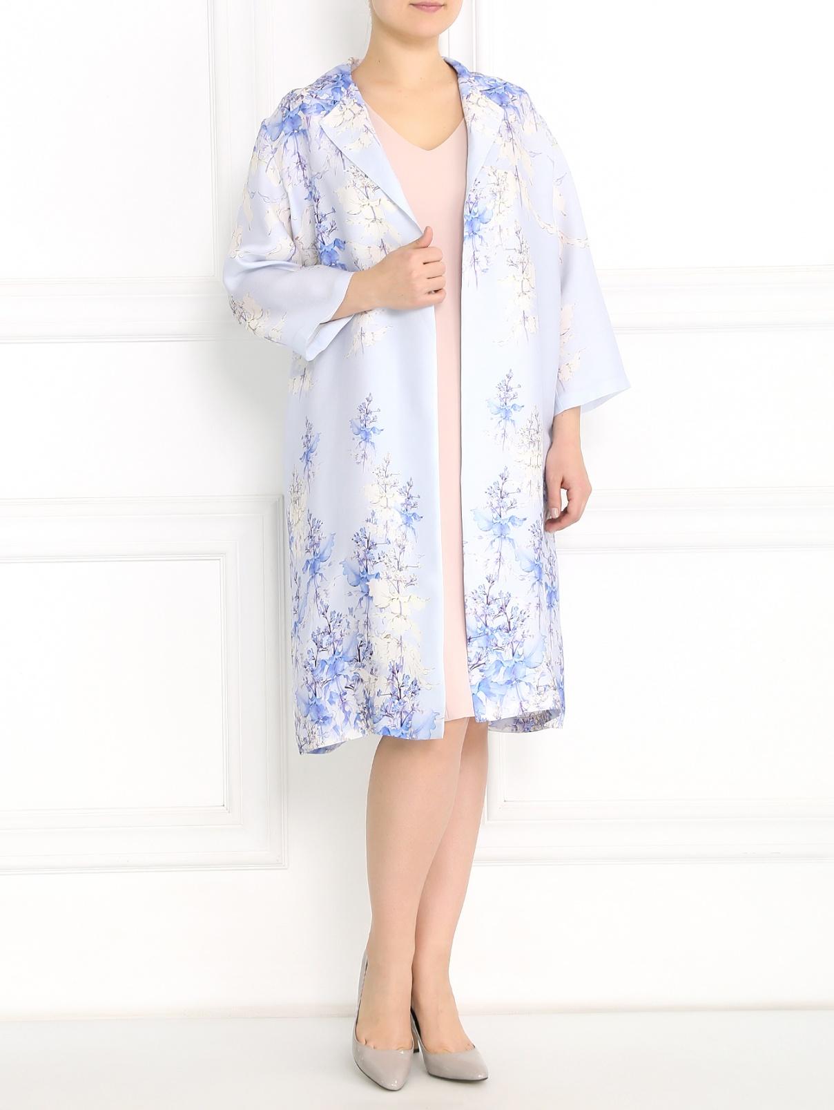 Однотонное платье-футляр с V-образным вырезом Marina Rinaldi  –  Модель Общий вид
