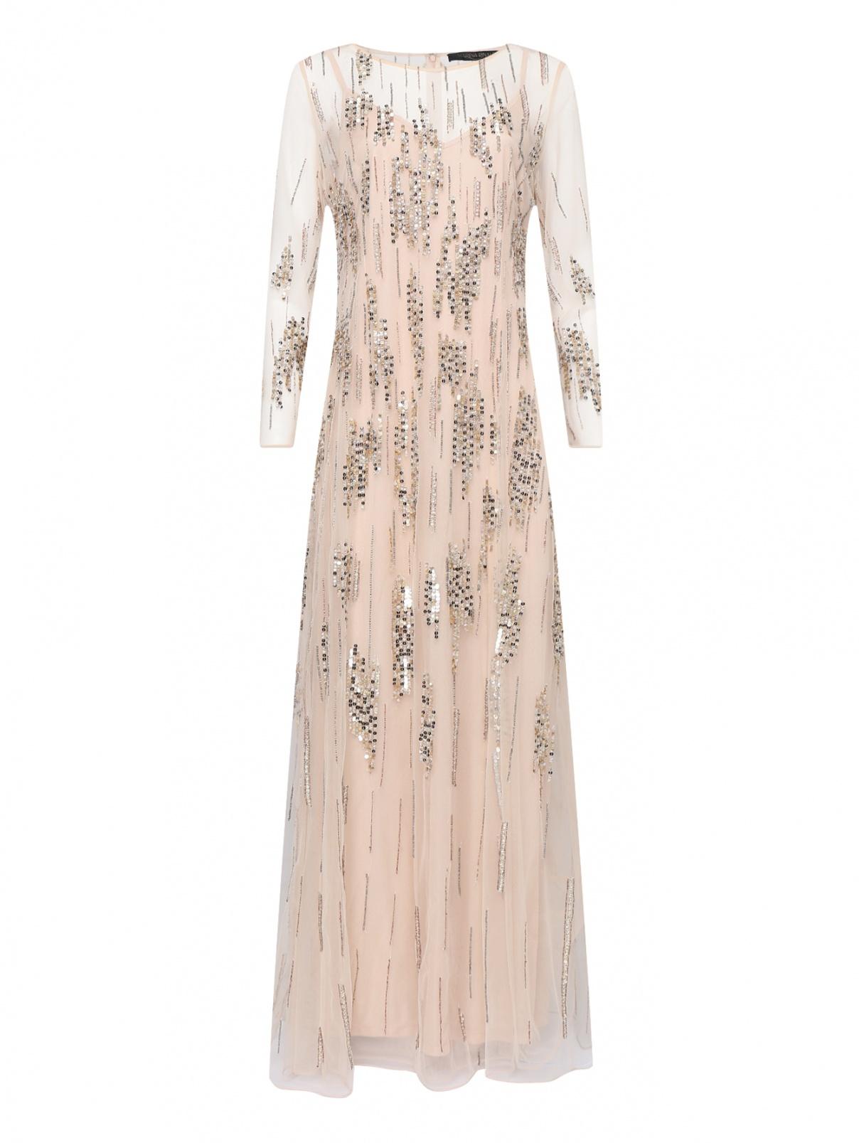 Полупрозрачное платье-макси декорированное пайетками Marina Rinaldi  –  Общий вид