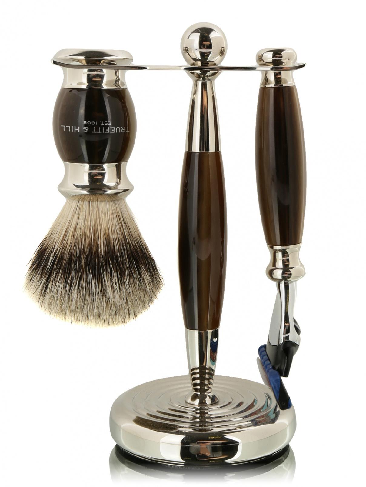 Набор с подставкой кисть для бритья + станок с лезвием Fusion Truefitt & Hill  –  Общий вид
