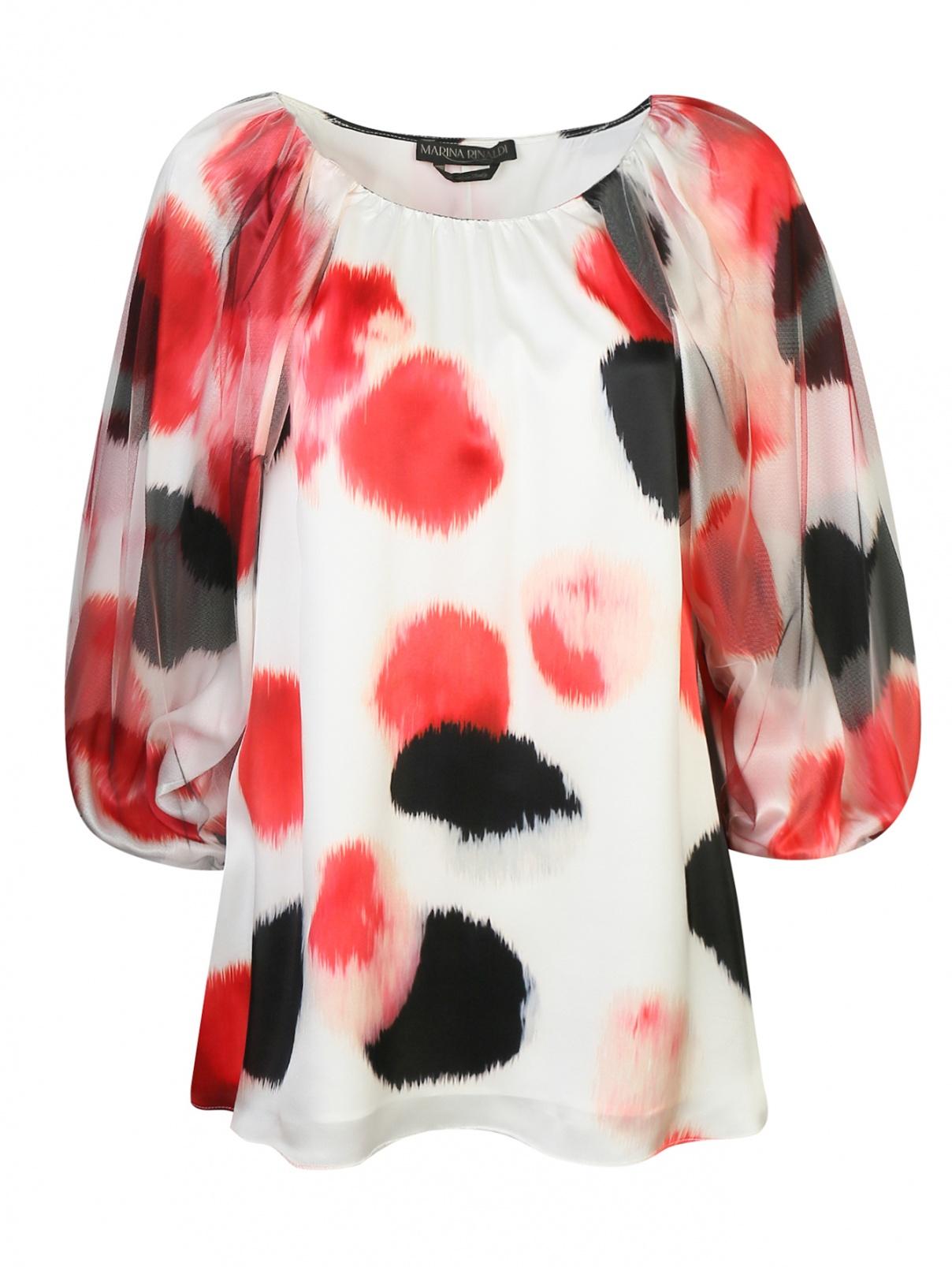 Блуза из шелка свободного кроя с узором Marina Rinaldi  –  Общий вид