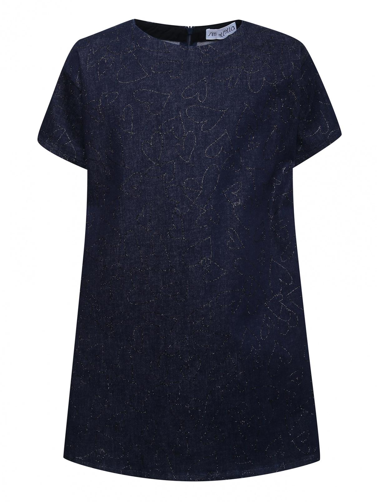 Платье из денима с узором блестками Simonetta  –  Общий вид