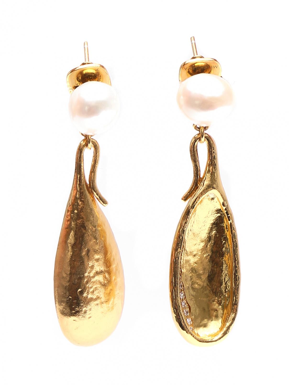 Серьги с жемчугом, декорированные цирконием MI MANERA  –  Общий вид