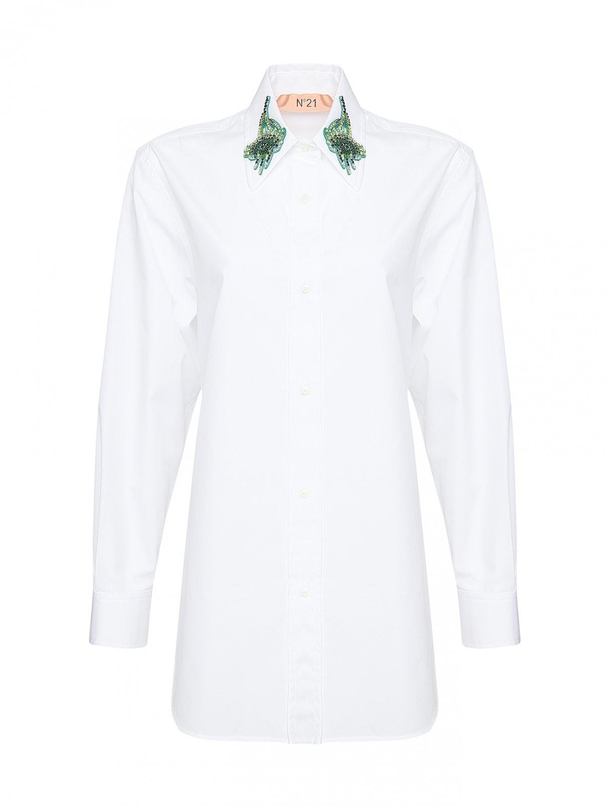 Блуза из хлопка с декором стразами на воротнике N21  –  Общий вид