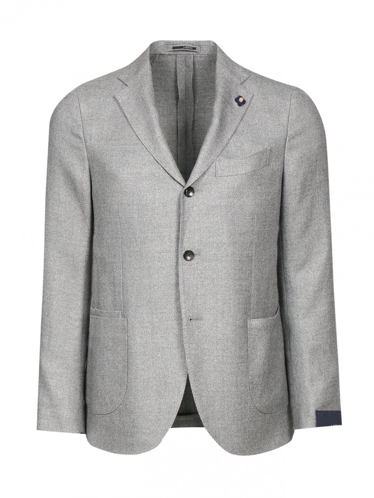 Пиджак однобортный из льна и шерсти LARDINI  –  Общий вид