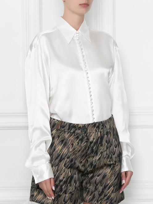 Блуза из вискозы с принтом MM6 - МодельВерхНиз