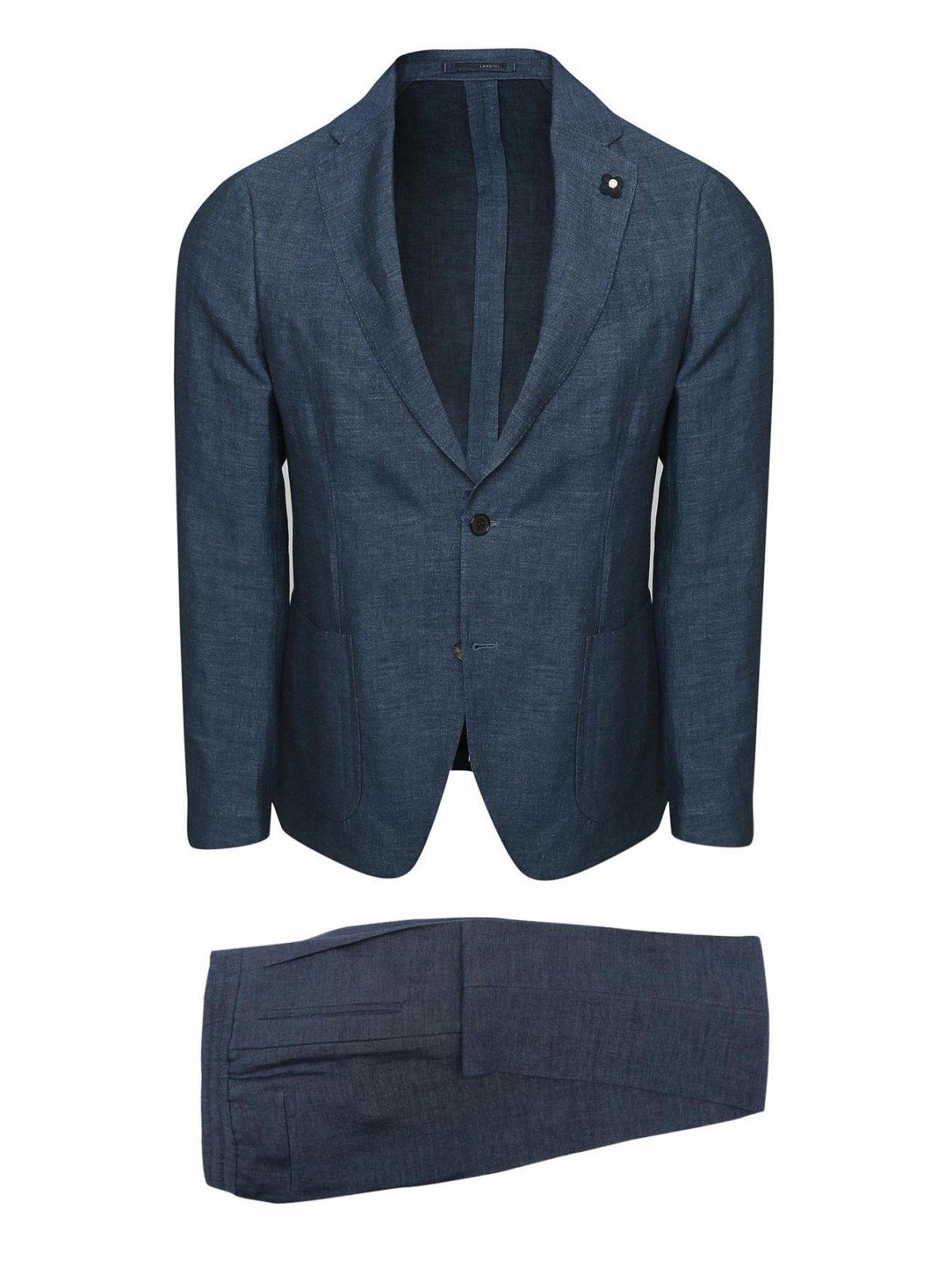 Костюм из льна с накладными карманами LARDINI  –  Общий вид