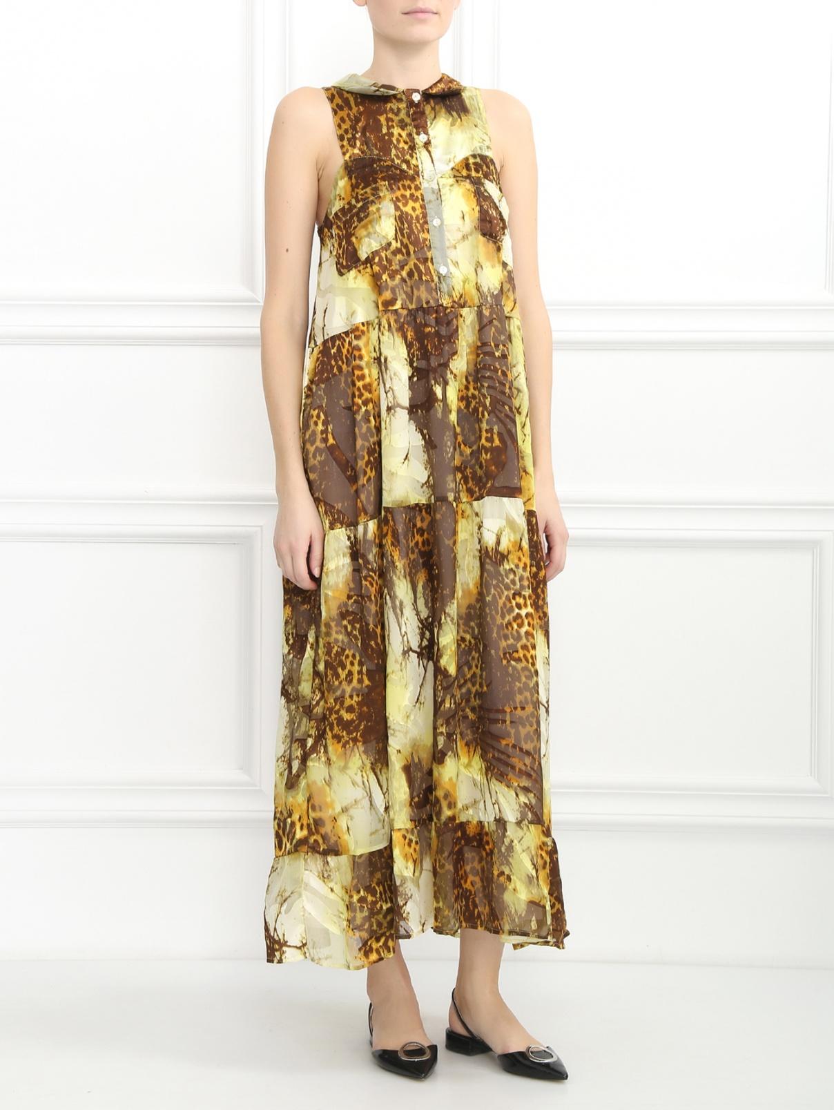 Платье-миди из хлопка и шелка Lil pour l'Autre  –  Модель Общий вид