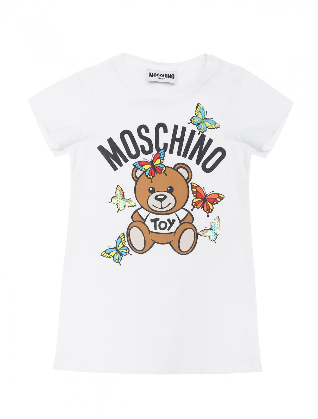 Платье из хлопка с принтом Moschino BABY  –  Общий вид