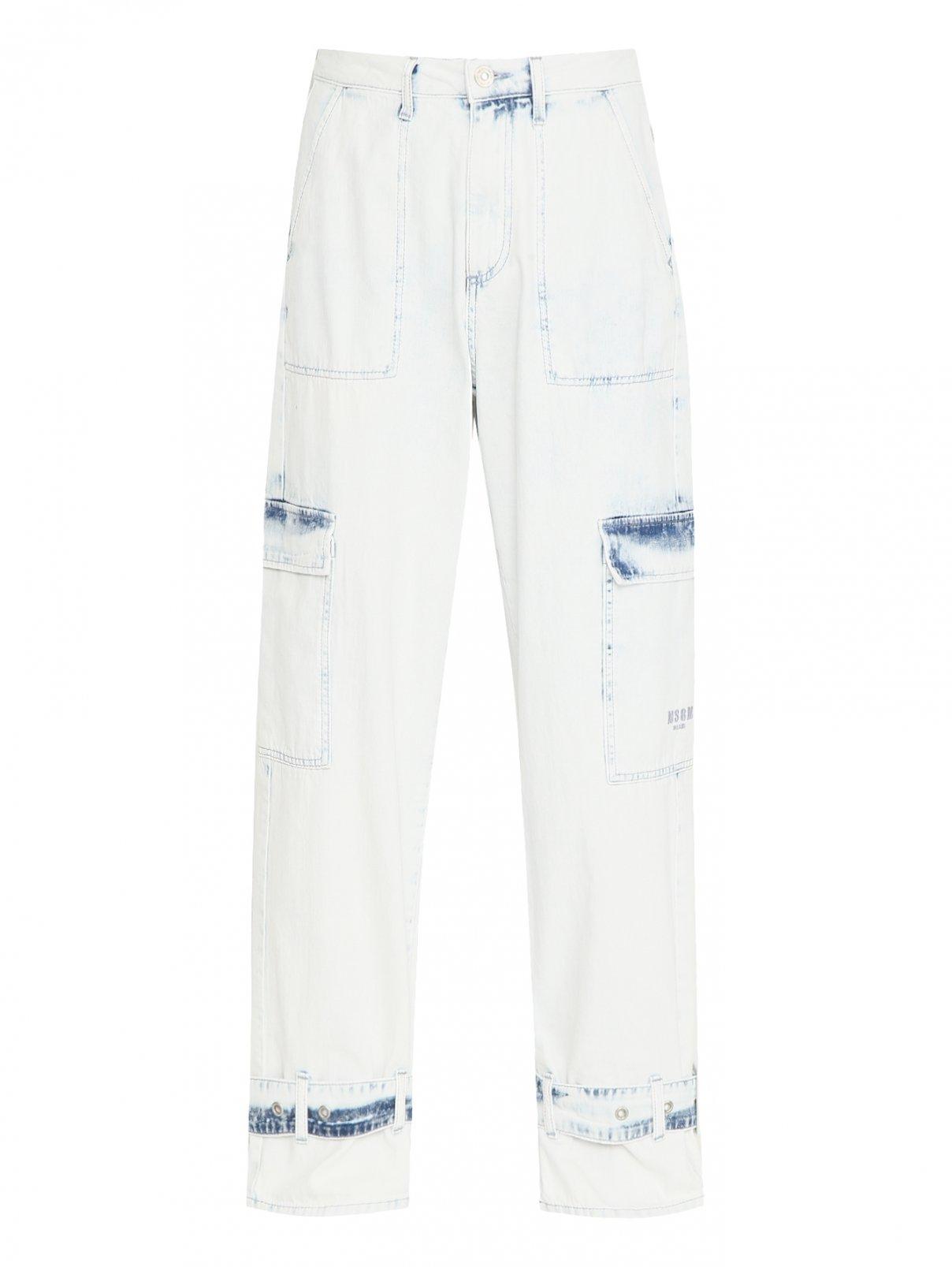 Джинсы из светлого денима с накладными карманами MSGM  –  Общий вид
