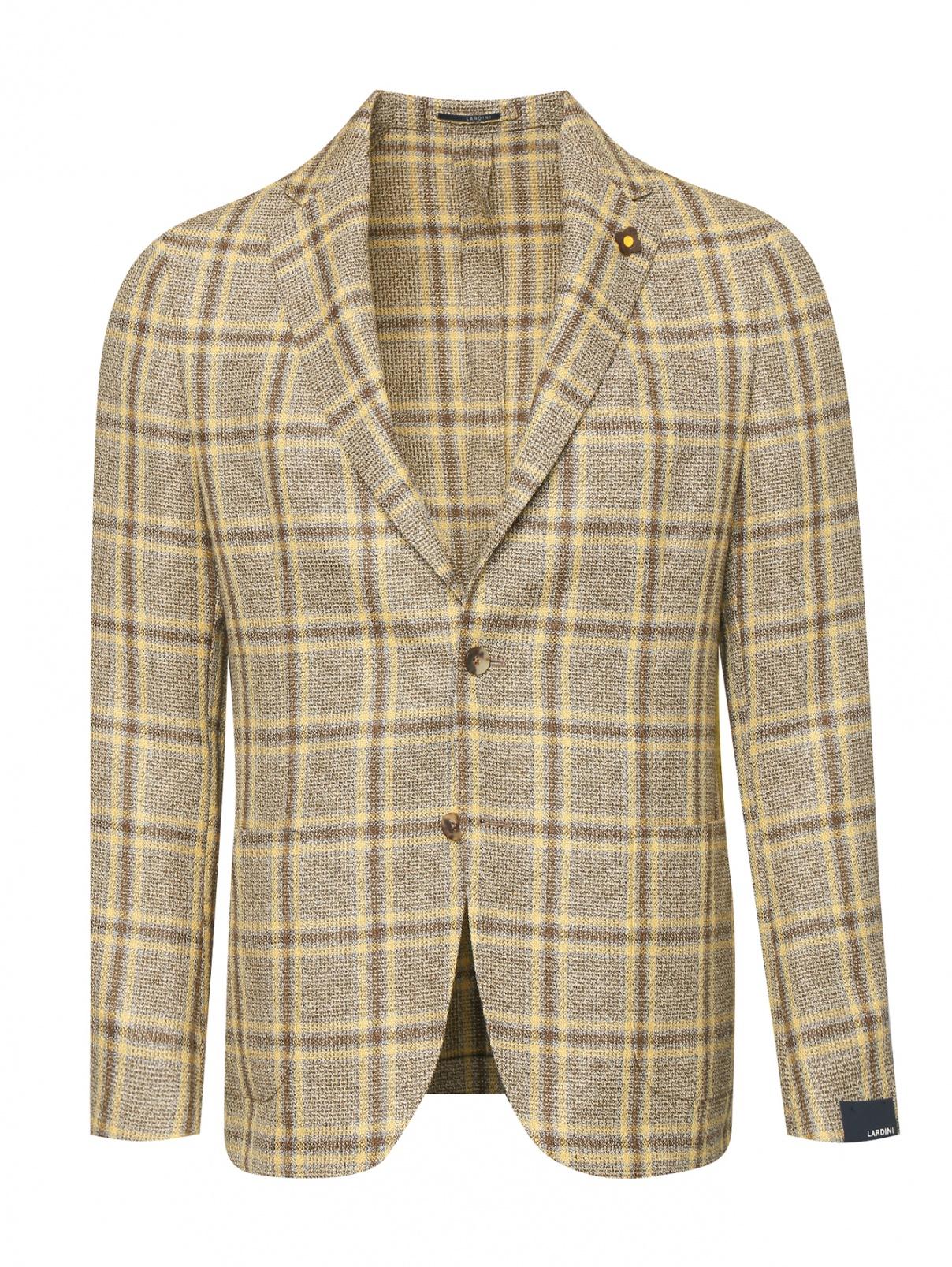 Пиджак из шерсти и льна с узором клетка LARDINI  –  Общий вид