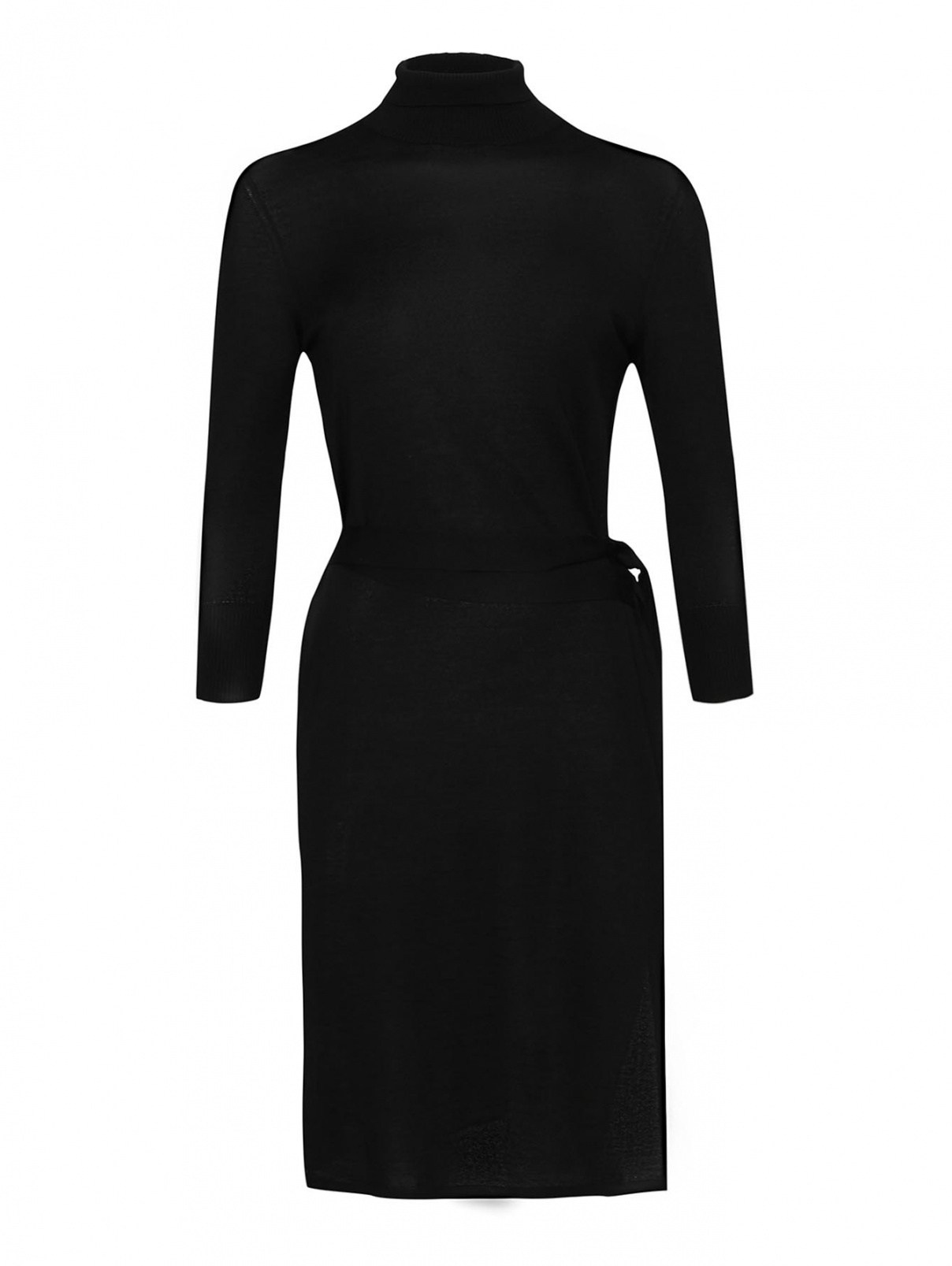 Платье трикотажное с поясом, из кашемира и шелка Malo  –  Общий вид