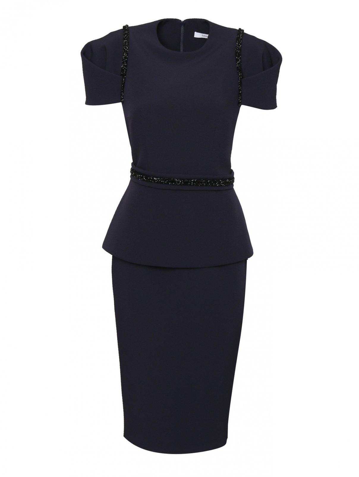 Платье приталенное с баской и поясом Safiyaa  –  Общий вид