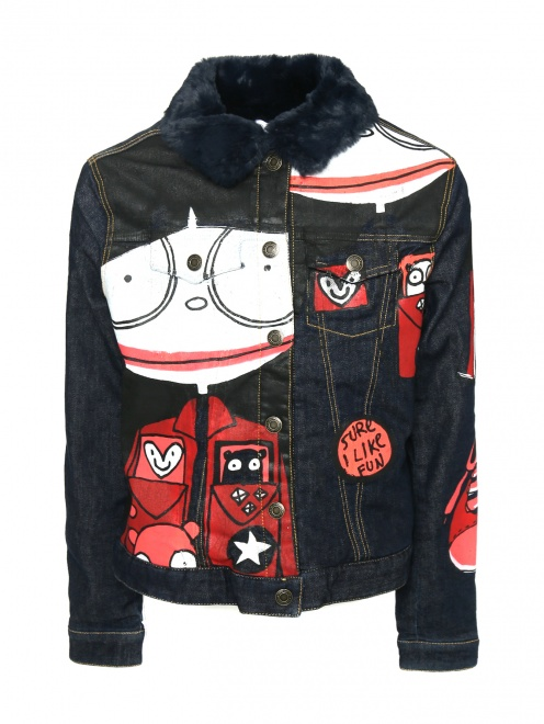 Куртка из денима с принтом - Общий вид