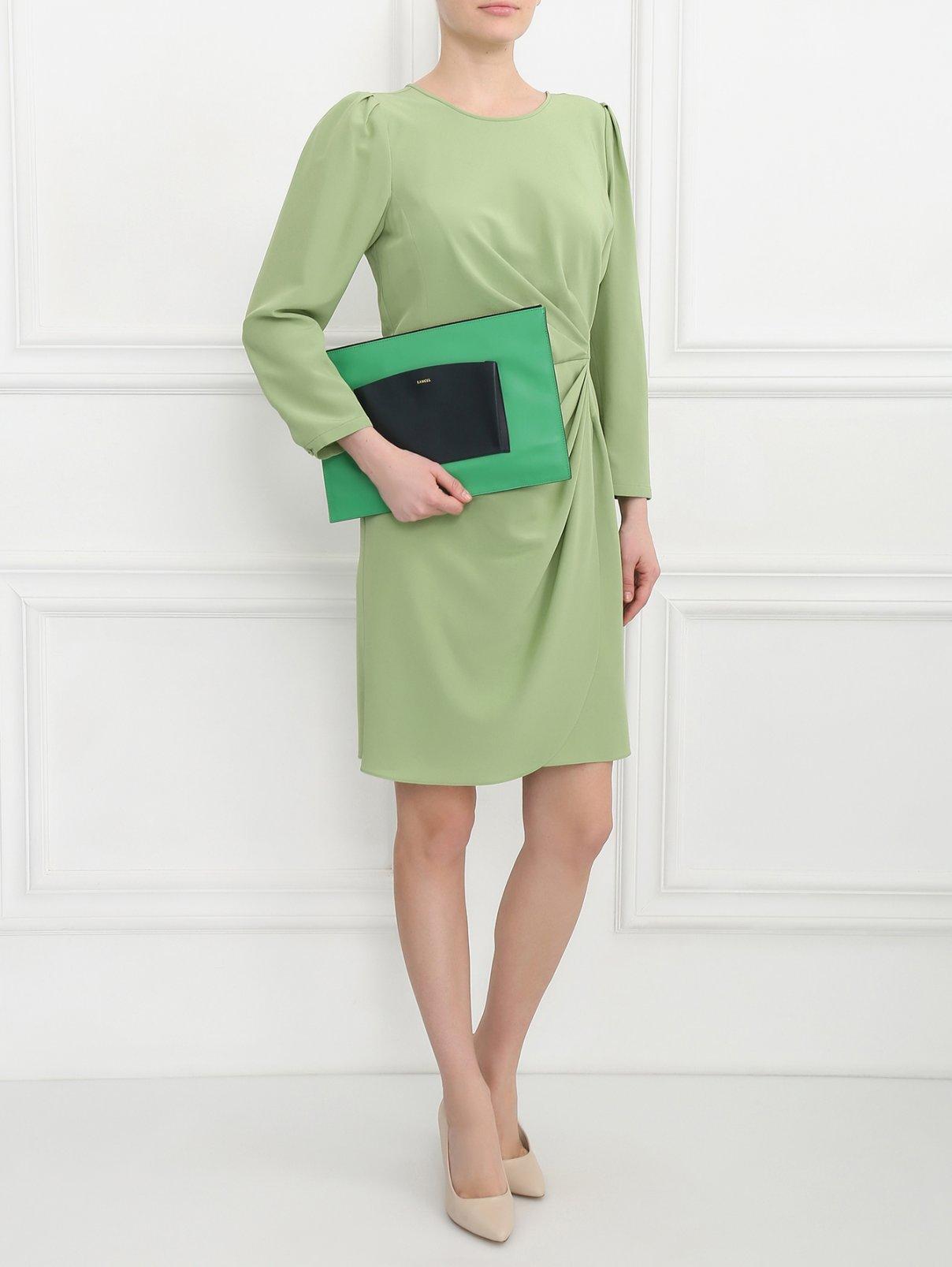 Платье из шелка с драпировкой Emporio Armani  –  Модель Общий вид