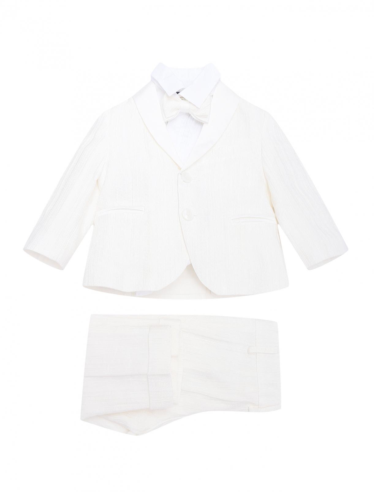 Комплект из смеси льна и хлопка - пиджак,рубашка,брюки,бабочка Treapi  –  Общий вид