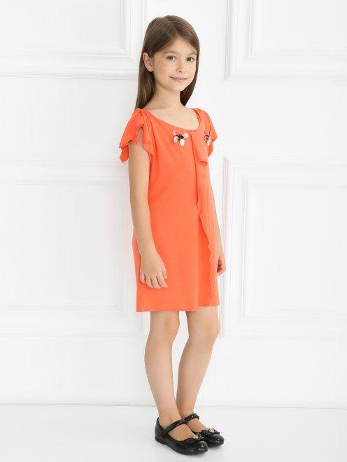 Трикотажное платье-мини с декором - Общий вид