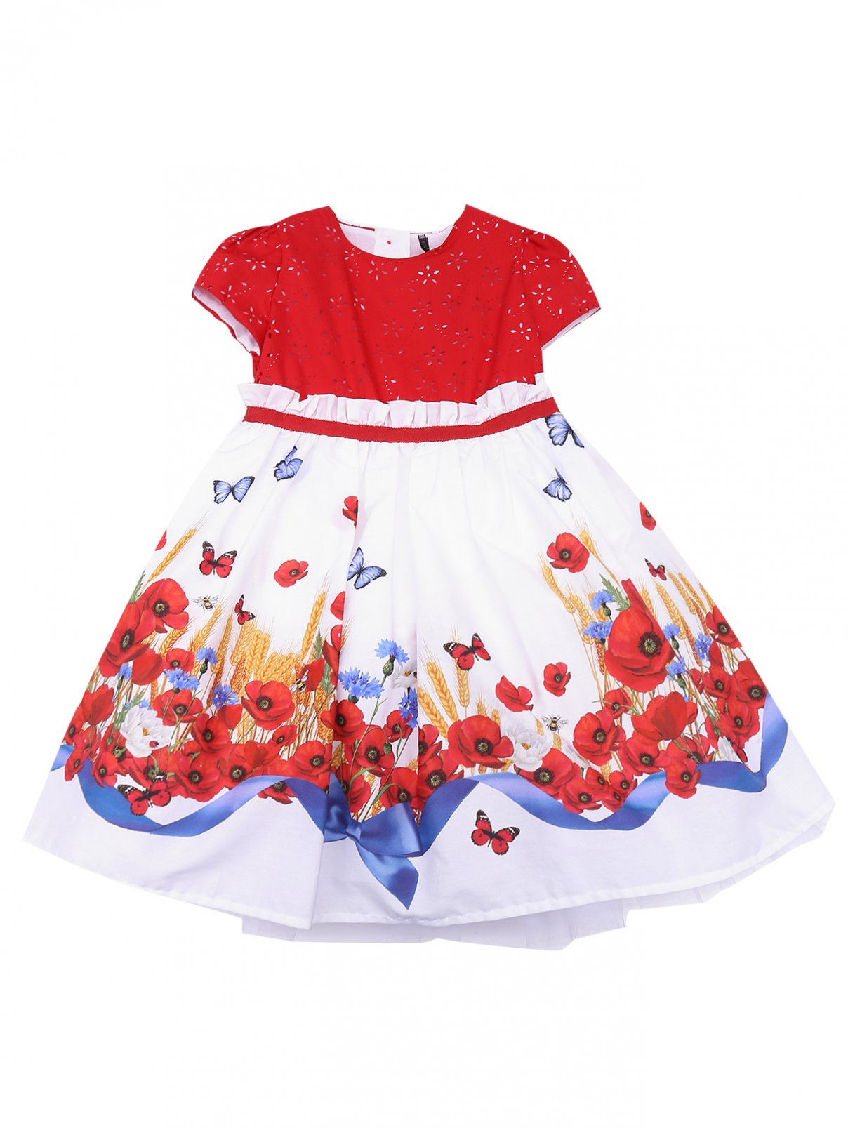 Платье из хлопка с цветочным узором MONNALISA  –  Общий вид