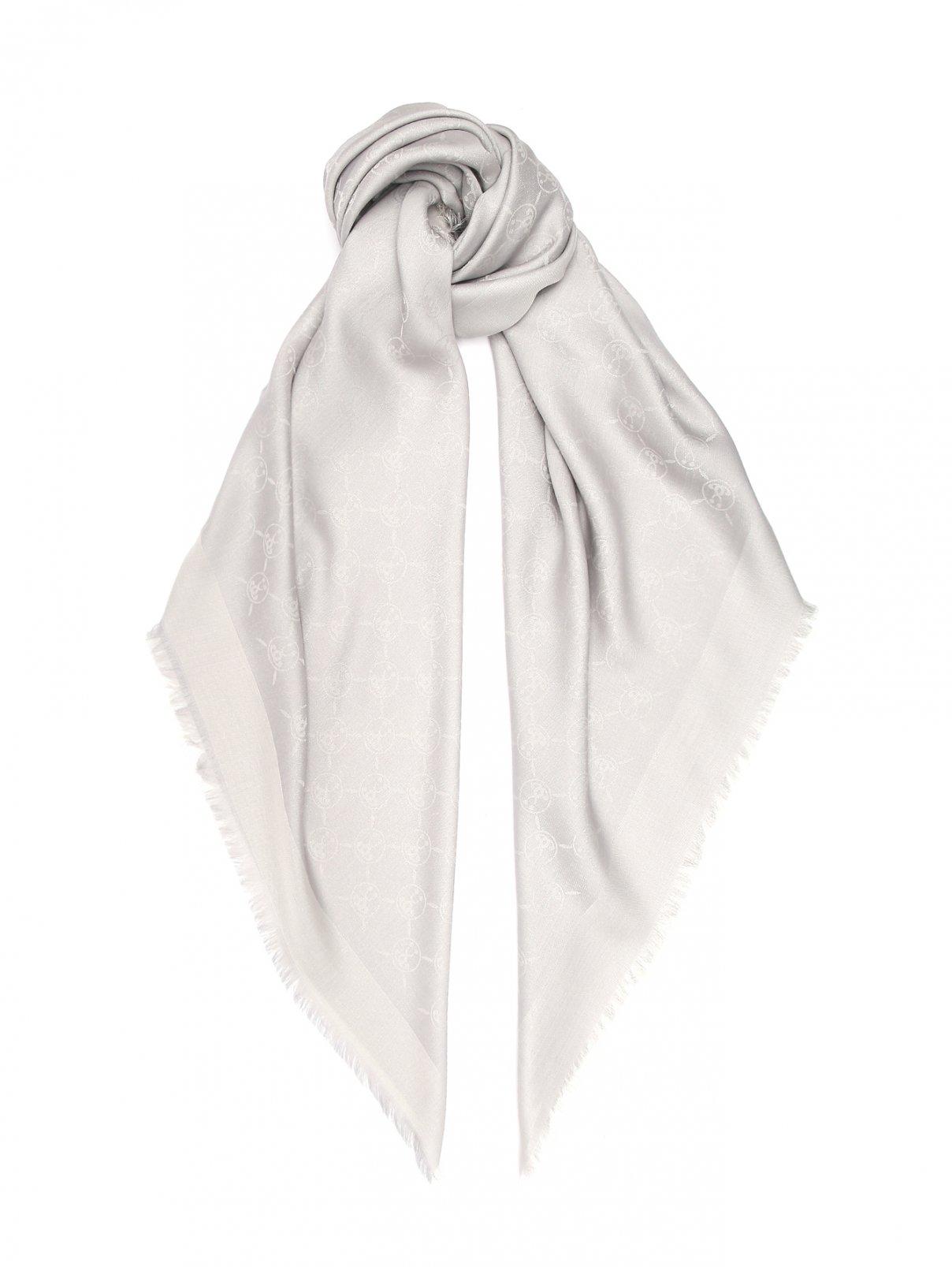 Платок из шерсти шелка и хлопка с бахромой Moschino  –  Общий вид