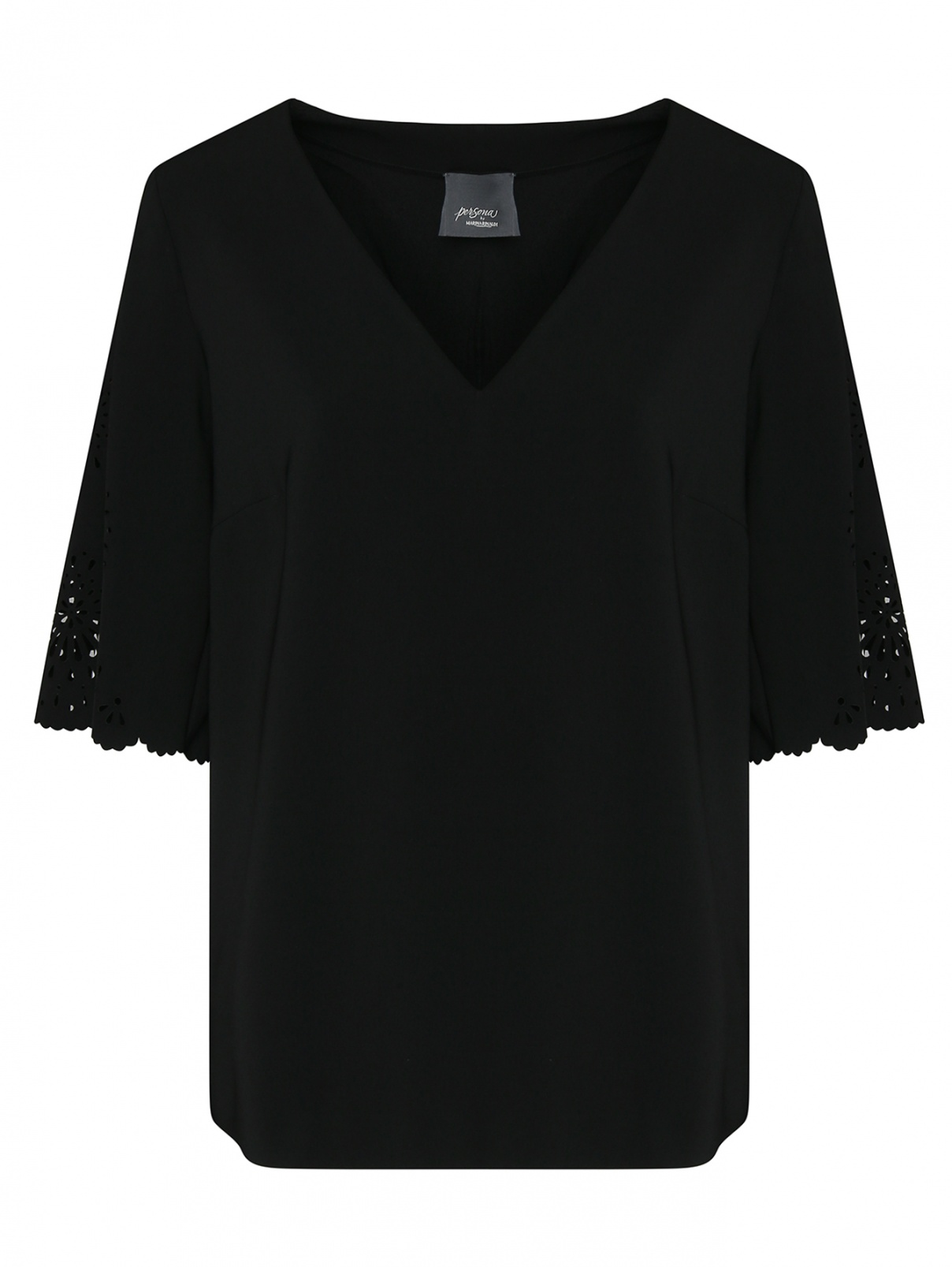 Блуза свободного силуэта с перфорацией Persona by Marina Rinaldi  –  Общий вид