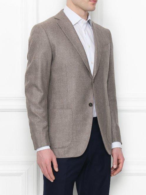 Пиджак из шелка и шерсти - МодельВерхНиз
