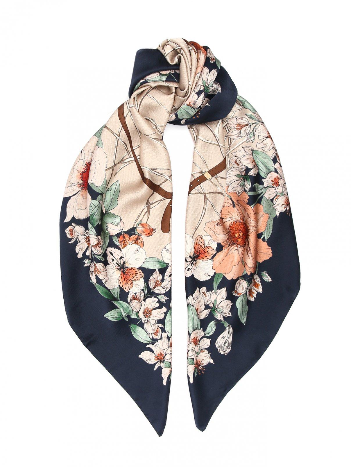 Платок из шелка с цветочным узором Max Mara  –  Общий вид